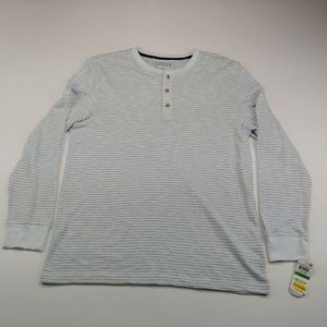 Club Room Men's Sweater White Striped Long Sleeve